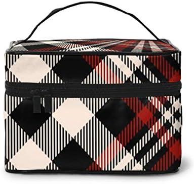 Bolsas de cosméticos de Viaje Plaid Check Patten Rojo Beige Negro Estuche de Maquillaje y Bolsa de Aseo - Estuche de Tren Bolsa de Maquillaje para Mujeres: Amazon.es: Equipaje