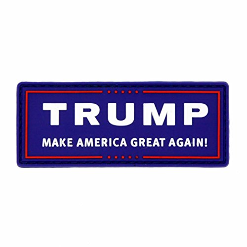 Trump Make America Great Again PVC Rubber Tactical Morale Patch - Hook Backed with Loop Fastener Backing Attachment Piece That Can Be Sewn On - Navy Blue Emblem by NEO Tactical Gear