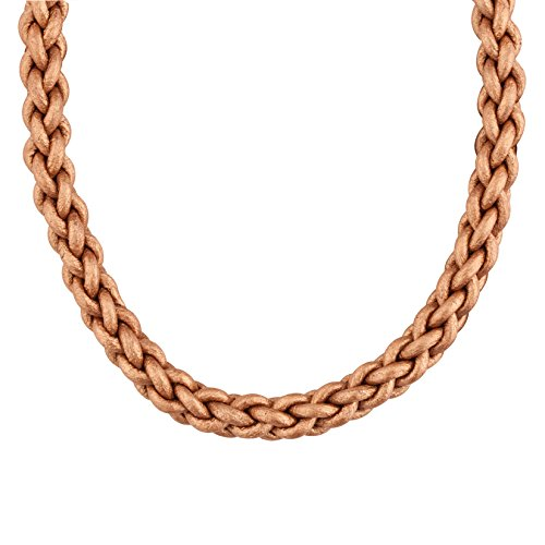 Bronze Braided Leather Cord Necklace with Brass - Fe Mexico Santa New Outlet