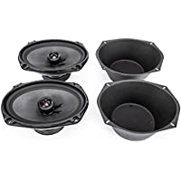 Skar Audio TX69 6 x 9 400W 2 Way Coaxial Speakers (1 Pair) with One Pair of 6 x 9 Universal Speaker Baffles