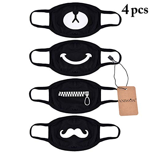Mouth Mask,Aniwon 4 Pack Unisex Kpop Mask EXO Mask Anti-dust Cotton Face Mask for Men and Women (Combination 1)]()
