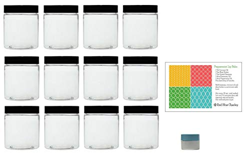 Clear 8 oz Plastic Jars with Black Lids (12 pk) with Mini Jar - PET Round Refillable Containers