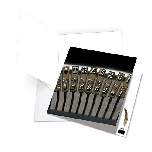 Keys Typewriter Recycled - JQ4968BYG New Jumbo Square-Top Humorous Boss Thank You Greeting Card: Thank You Keys Featuring Images of Retro Typewriters Spelling Out Greetings, with Envelope (Giant Size: 8.25
