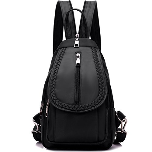 NOVOSACO Girls Convertible Small Nylon Backpack Purse Cross Body Sling Shoulder (Black Nylon Sling)