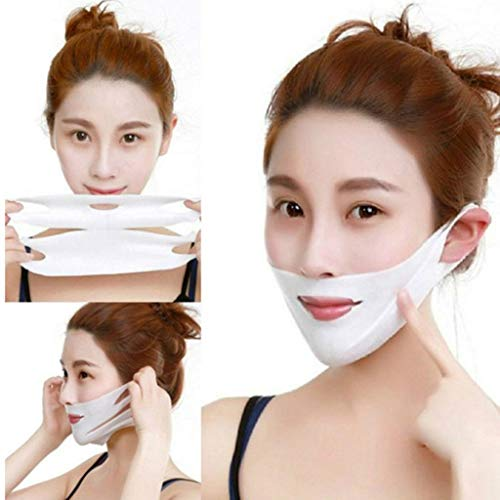 - Wffo V Line Mask Neck Mask Face Lift V Lifting Chin Up Patch Double Chin Reducer Neck Lift V Up Contour Tightening Firming Moisturizing Chin Mask V Shape Face Lifting V Zone Mask Tape (A)