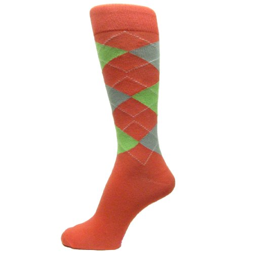 Spotlight Hosiery Men's Groomsmen Wedding Argyle Dress Socks-Coral(Close