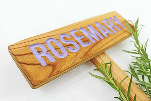 ROSEMARY Garden Sign, Painted & Sealed Cedar Wood: Hand Routed, Herb Plant Marker, Herb Signage, Custom Garden Sign, Personalized Marker