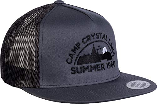 Camp Crystal Lake, Summer 1980 | Funny 80s Retro Vintage Movie Horror Cap Hat Grey/Black (Friday The 13th Best Counselor)