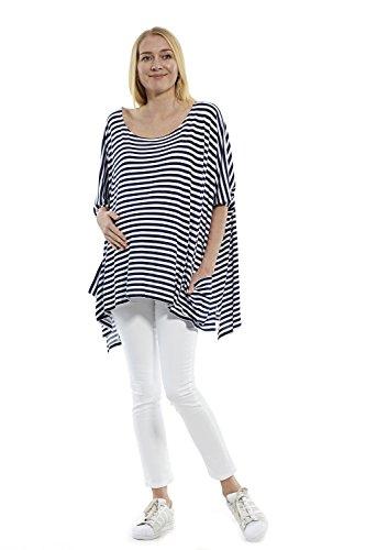 Damen Bluse Shirt T-Shirt Tunika Fallend Leicht Loose Fit Oberteil mit Taschen, Umstandskleidung Umstandsbluse Top Umstandsmode Mutterschaft, Stillen Angenehm