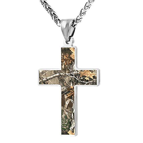 Forest Tree Camouflage Simple Cross Necklace Prayer Crucifix Pendant Choker Men Women Jewelry Enamel Link Chain Gift -