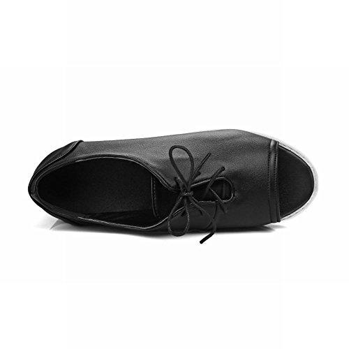 Latasa Womens Peep Toe Lace up Summer Oxford Shoes Black 71iHumk