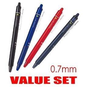 Pilot Frixion Ball Knock Click Retractable Erasable Gel Ink Pens,fine Point, 0.7mm Black,Blue,Red,Blue Black Ink, Each 1 Pen- Value set of ()