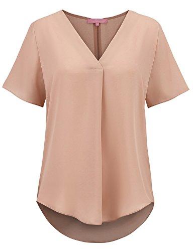 (Regna X Womens Short Sleeve V Neck Casual Chiffon Cuffed T Shirt Blouse Beige M)