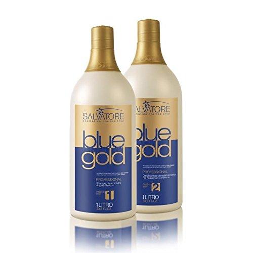 Salvatore Blue Gold Hair Straightening 2 x 1 L Brazilian Keratin