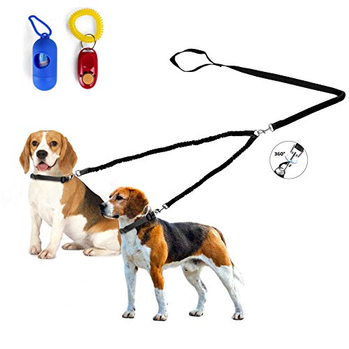 - Double Dog Leash, Dual Dog Leash Coupler, 360° Swivel Durable No Tangle dog leash, Shock Absorbing Reflective Bungee training dog leash for Two Dogs Plus Waste Bag Dispenser & Dog Training Clicker (S)