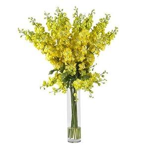 Wholesale Yellow Delphinium Silk Flower Arrangement, [Decor, Silk Flowers] 88