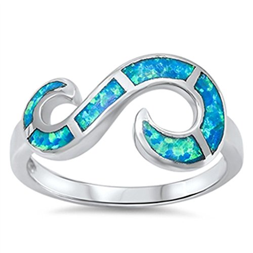 Open Infinity Swirl Blue Simulated Opal Ring New .925 Sterling Silver Band Size 10