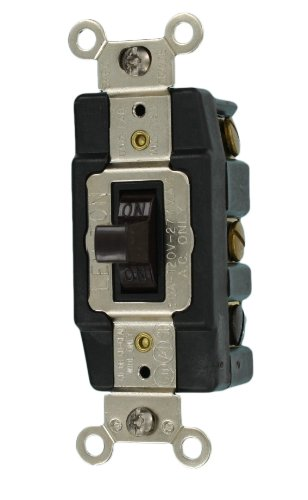 Leviton 1288 30-Amp 120-Volt Toggle Double-Pole AC Quiet Switch, Brown ()