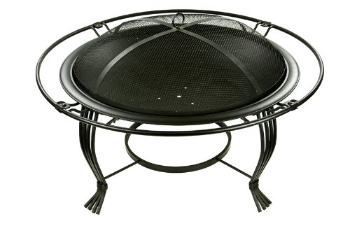 Micro World Saturn Fire Pit - MW1585 - Wood burning fire pit made of high quality steel and wrought iron Great addition to any outdoor space High heat resistant black coating - patio, fire-pits-outdoor-fireplaces, outdoor-decor - 41Bu5%2BIQW1L -