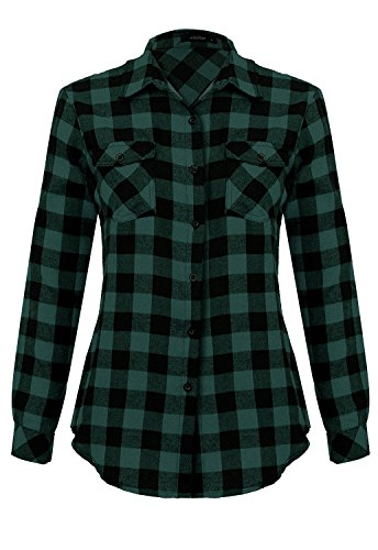 Womens Casual Button Down Plaid Shirts Roll up Long Sleeve Loose Blouse Tops with Front Pockets Green