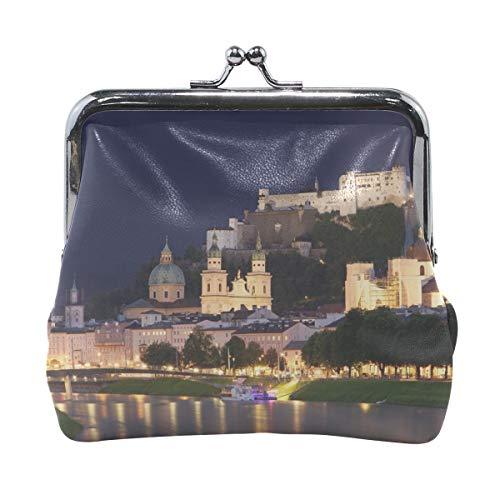 Your Home Coin Purse Austria Salzburg City River Salzach Bridge Pier Chapel Castle Home Church Cathedral Night Ogni Print Wallet Exquisite Clasp Coin Purse Girls Women Clutch Handbag