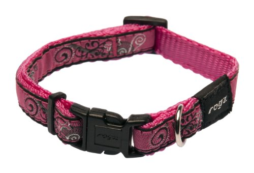"Rogz Fancy Dress Small 3/8"" Jellybean Side-Release Fashion Dog Collar, Pink Bone Design"