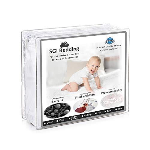 SGI bedding Short Queen Size Premium Mattress Protector - Waterproof, Bamboo Mattress Proctector