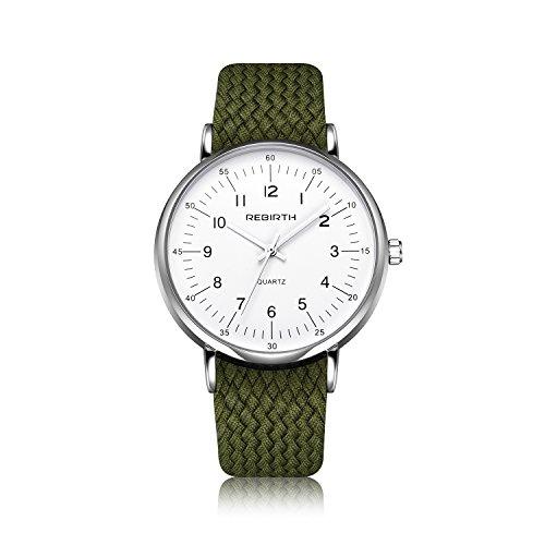 Bosymart Men's Big Face Analog Quartz Watch Nylon Strap Business Casual Wrist Watch