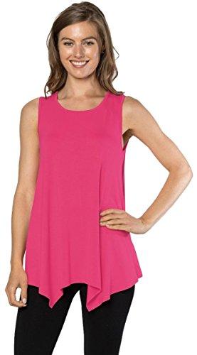 Tank Top T-Shirt - Loose Basic Sleeveless Tee Shirt Blouse, (Hot Pink-XL) (Juniors Pink Sleeveless Top)