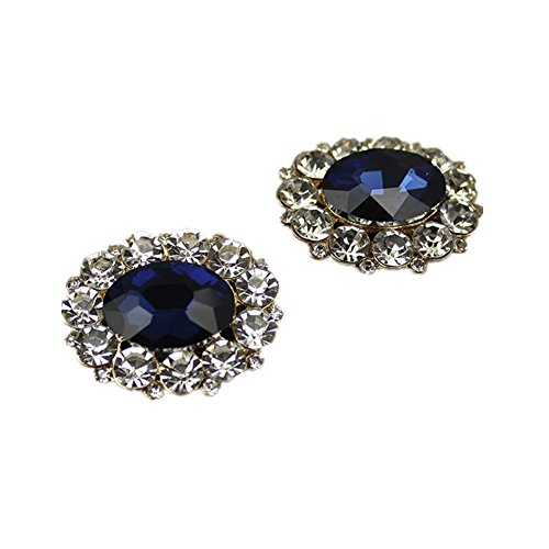 (Douqu A Pair of Fashion Removeable Blue Crystal Rhinestone Wedding Boots Shoe Clips Shoe Charms Jewelry)