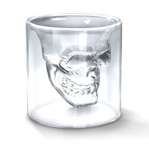 Halloween Decor With Milk Jugs (2016 New Creative Designer Skull Head Shot Glass Fun Doomed Transparent Party Doom Drinkware Gift for Halloween 4 sizes (25ml))