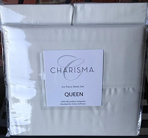 Queen Size Ivory Charisma 6 Piece Sheet Set 100% microfiber polyester for Deep Mattresses
