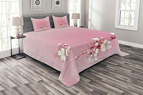 Branch Peach - Ambesonne Peach Bedspread Set King Size, Japanese Inspired Cherry Blossom Branch Sakura Flowers in Soft Colored Spring Time, 3 Piece Decorative Quilted Coverlet with 2 Pillow Shams, Pink White