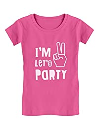 I'm Two Let's Party Cute 2nd Birthday Gift Toddler/Kids Girls' Fitted T-Shirt