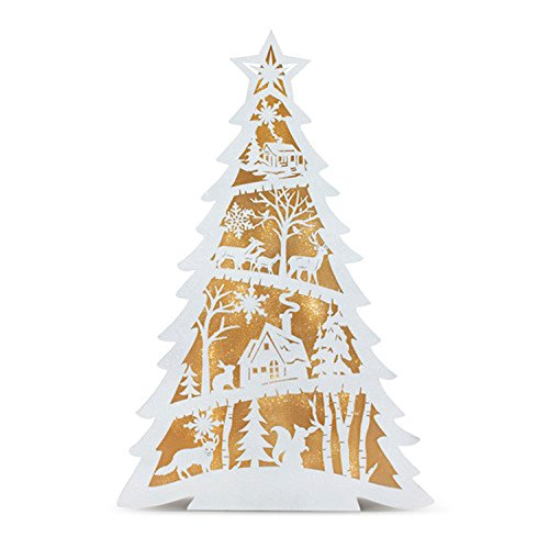 DEMDACO Tree Woodland Scene White LED Light Up 13.5 x 20 Inch Paperboard Tabletop Box Figurine]()