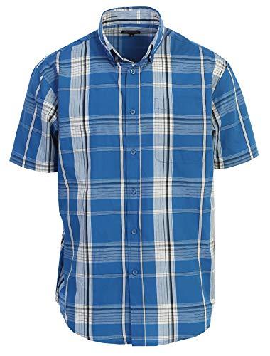 Gioberti Men's Plaid Short Sleeve Shirt, Blue/Light Blue Gradient/White Highlight, 4X Large