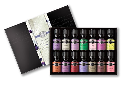 Floral Set of 14 Premium Grade Fragrance Oils - Violet, Rose, Freesia, Jasmine, Lilac, Gardenia, Lily, Honeysuckle, Azalea, Ylang Ylang, Sweet Pea, Plumeria, Lavender, Bamboo - 10ml Floral Collection Rose