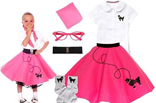 50S Girls 6 Pc Poodle Skirt Outfit Halloween Or Dance Costume Set ()
