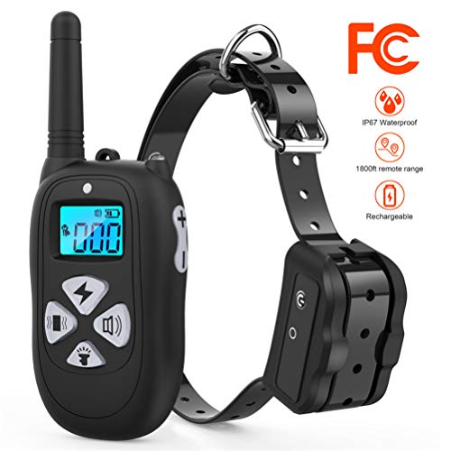 Tigygy Dog Training Collar 1800ft Remote Control [2018 Upgraded Version] Waterproof Rechargeable with Tone/Vibration/Electric Shock Modes for Small Medium Large Dogs -No Problem with Swimming/Shower