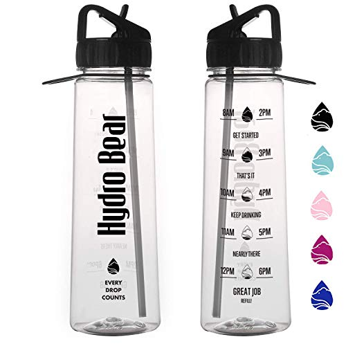 Hydro Bear Motivational Fitness Sports Water Bottle with Time Marker | Measurements | Drink More Water Daily | BPA Free Tritan with Flip Straw | for Outdoors Camping Hiking Cycling | Large 30 Ounce