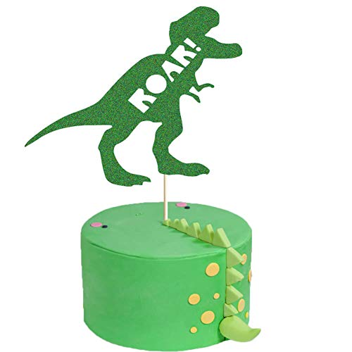 (ROAR Cake Topper, Dinosaur Birthday Party Cake Decor, Dino Jungle Jurassic Dinosaur T-Rex Happy Birthday Party Cake Supplies Decorations)