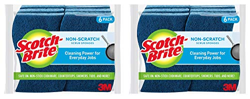 Scotch-Brite Non-Scratch Scrub Sponge, Cleaning Power for Everyday Jobs, 6 Scrub Sponges, 2 Pack
