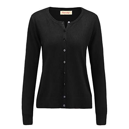 (Panreddy Women's Wool Cashmere Classic Cardigan Sweater S Black )