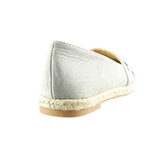 Angkorly - Chaussure Mode Espadrille Mocassin slip-on femme brodé fantaisie corde Talon bloc 2 CM - Gris
