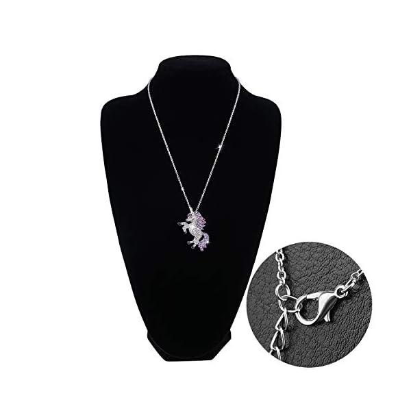 Gleamart Unicorn Necklace Rainbow Rhinestone Crystal Necklace for Women 7