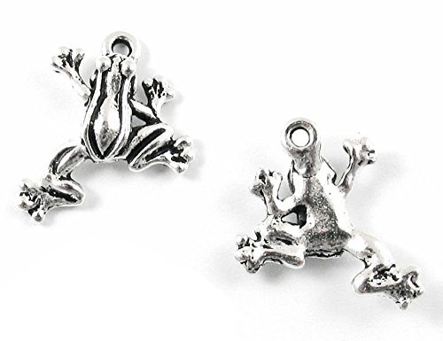 TierraCast Pewter Charms-ANTIQUE SILVER LEAP FROGS (2) (Charms Animal Pewter)
