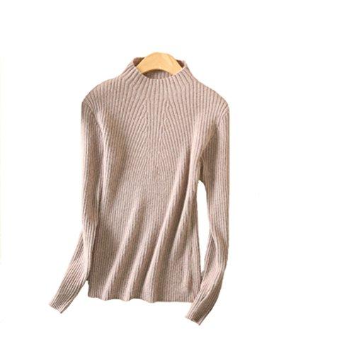 Cashmere Beige Sweater (Always Pretty Women's Slim Long Sleeve Wool Knit Jumper Pullover Sweater Camel L)