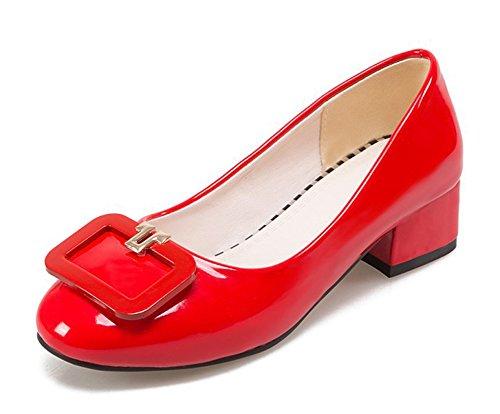 Aisun Femmes Confort Bout Rond Boucle Robe Empilée Talons Moyens Slip On Low Cut Escarpins Chaussures Rouge