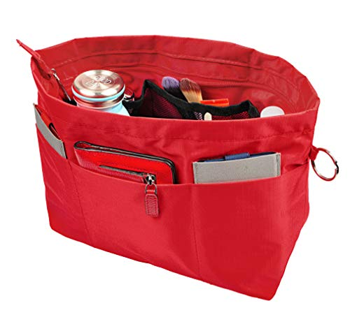 Vercord Handbag Purse Tote Pocketbook Organizer Insert Zipper Closure 11 Pockets Red Medium ()