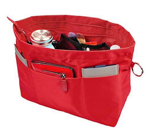 (Vercord Handbag Purse Tote Pocketbook Organizer Insert Zipper Closure 11 Pockets Red Large)